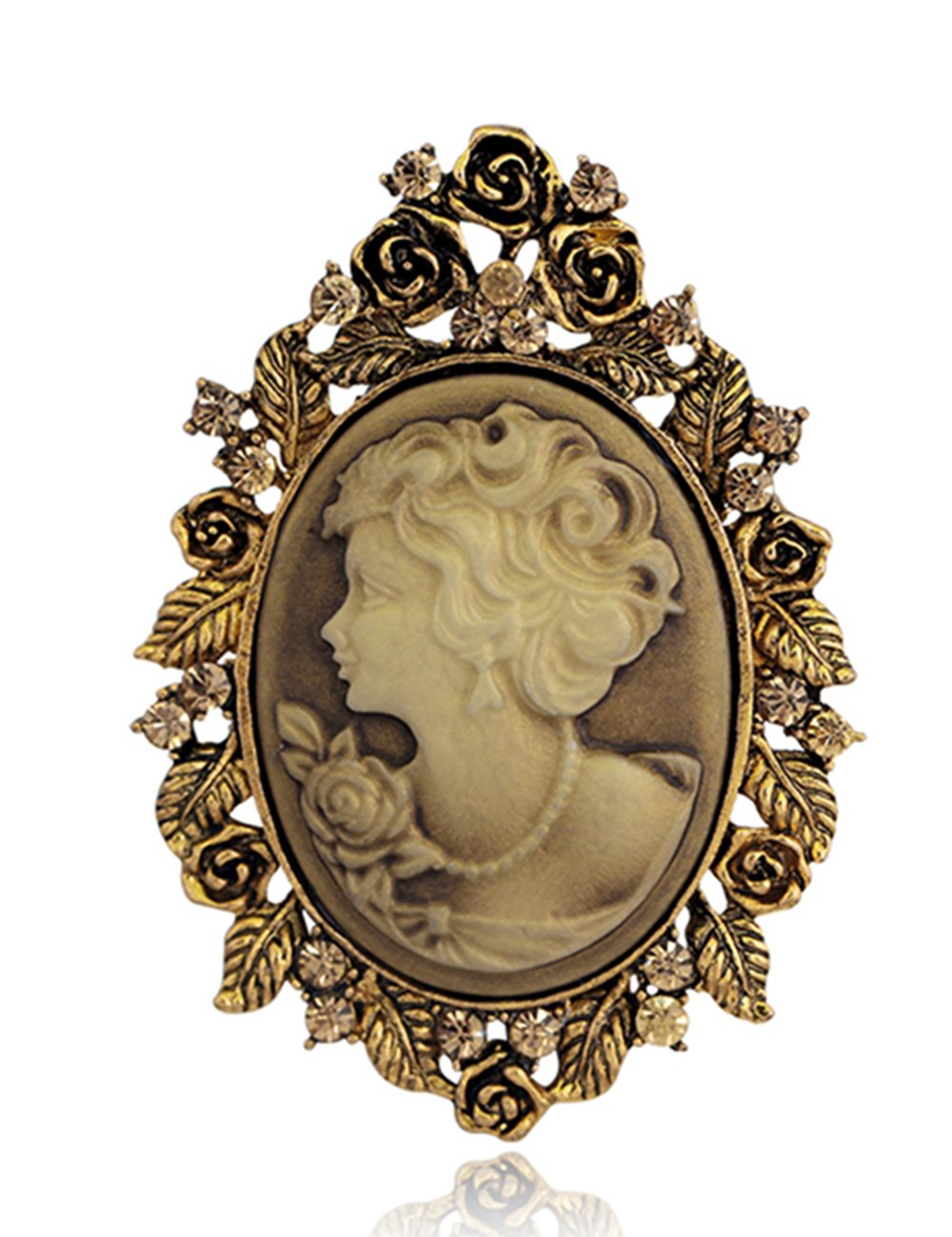 Danbihuabi Vintage Crystal Cameo Lady Maiden Flower Brooch(silver Plated,gold Plated) Danrun Jewelry
