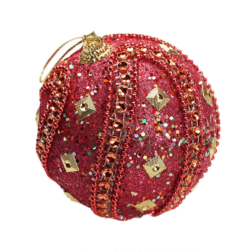 3.15in Christmas Ball Ornament Rhinestone Glitter Baubles Balls Party Xmas Tree Ornaments Shatterproof Christmas Decorations (Hot Pink, 80mm) Iskylie