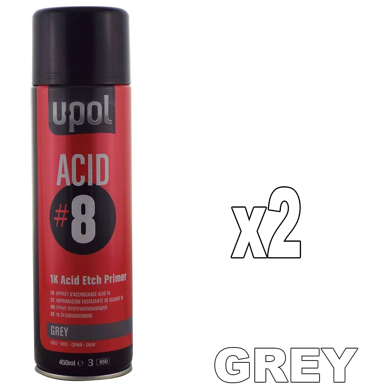 U-POL Acide # 8 1 K Etch Primer Mé taux, acier et aluminium galvanisé s, Lot de 2 x 450 ml, Bombes professionnelles d' apprê t pour automobiles acier et aluminium galvanisés