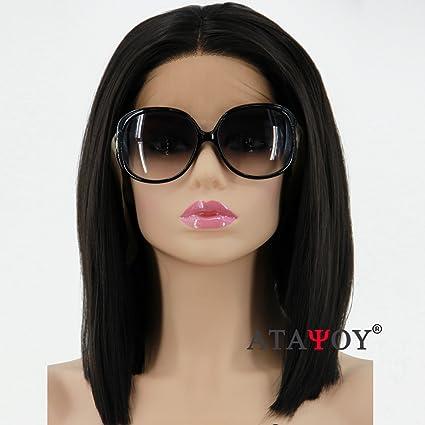ATAYOU® Lace Front Peluca Corta Pelucas Negras Delanteras de Encaje - Pelucas Rectas Negras Naturales