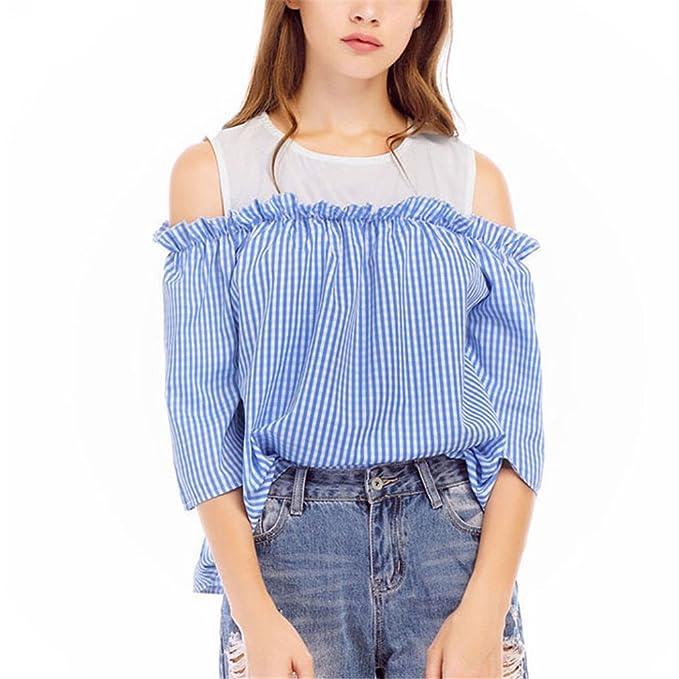 Hombro Frío con Blusas Blancas de Cuello O Tops de Moda de Verano de Mujer Blusa