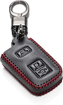 Prius C Tacoma 3 Buttons, Black//Red Vitodeco Genuine Leather Keyless Entry Remote Control Smart Key Case Cover with Leather Key Chain for Toyota Land Cruiser