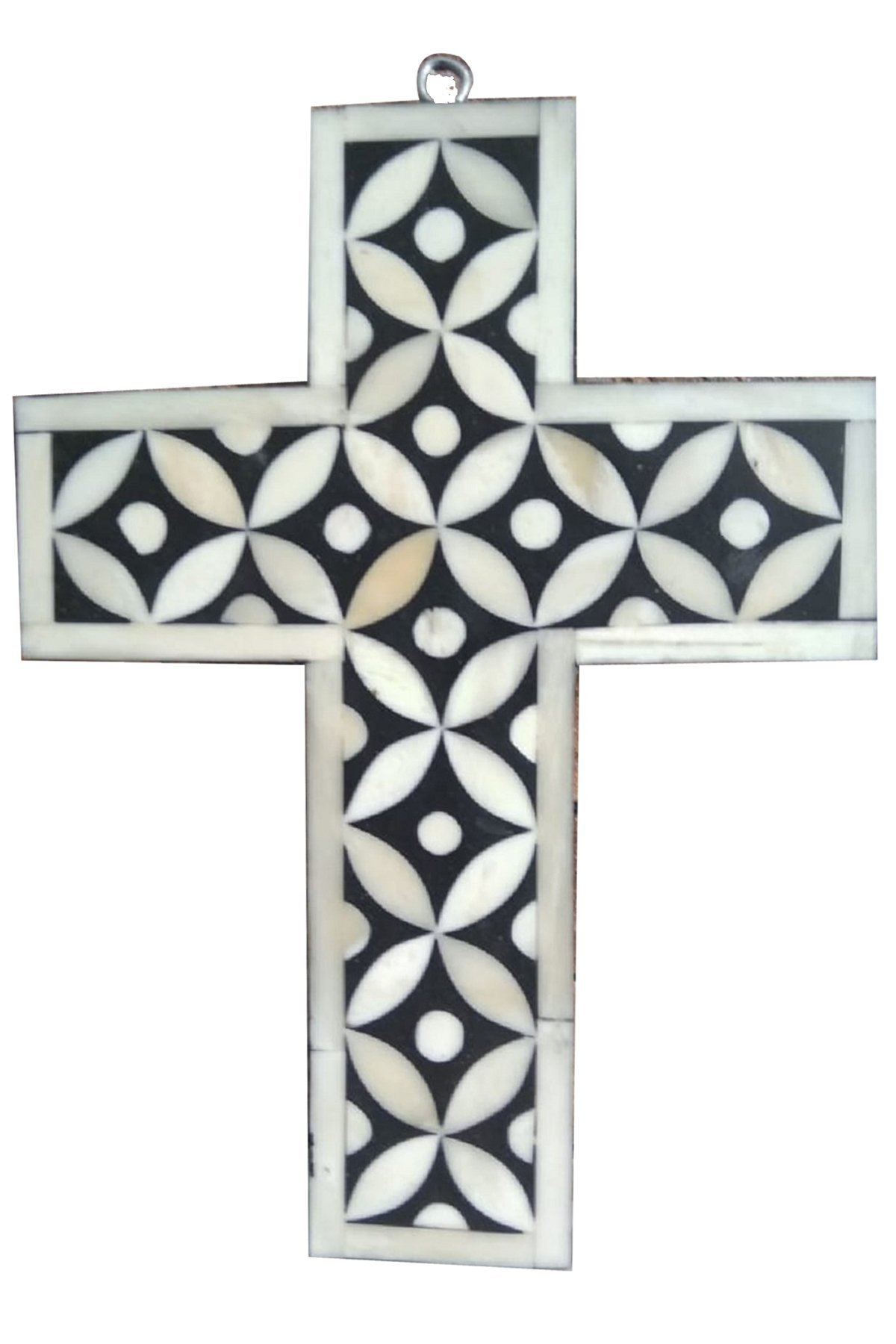 Fair Deal Handmade Star Eye Wall Hanging Bone Inlay Holy Cross Blessing For Home And Protection Against Evil Eye (Black)