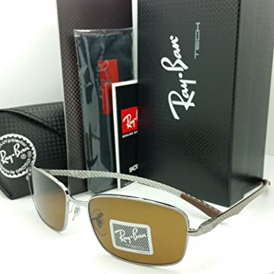 102e75f9657 Image Unavailable. Image not available for. Color  Ray Ban Tech RB 8308  Gunmetal Carbon Fiber Frame Brown Lens Sunglasses