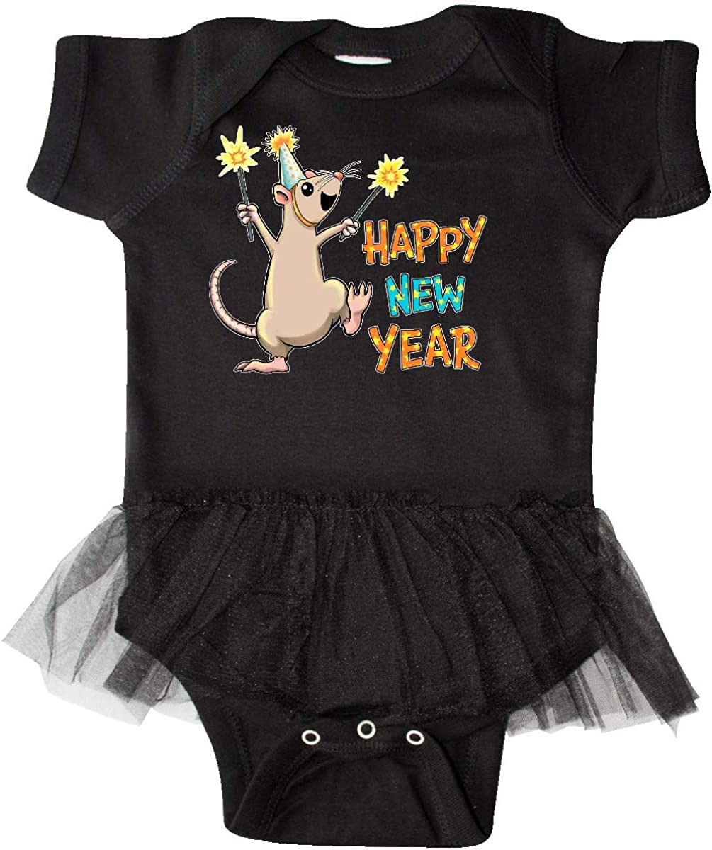 inktastic Happy New Year Rat with Sparklers in Party Hat Infant Tutu Bodysuit