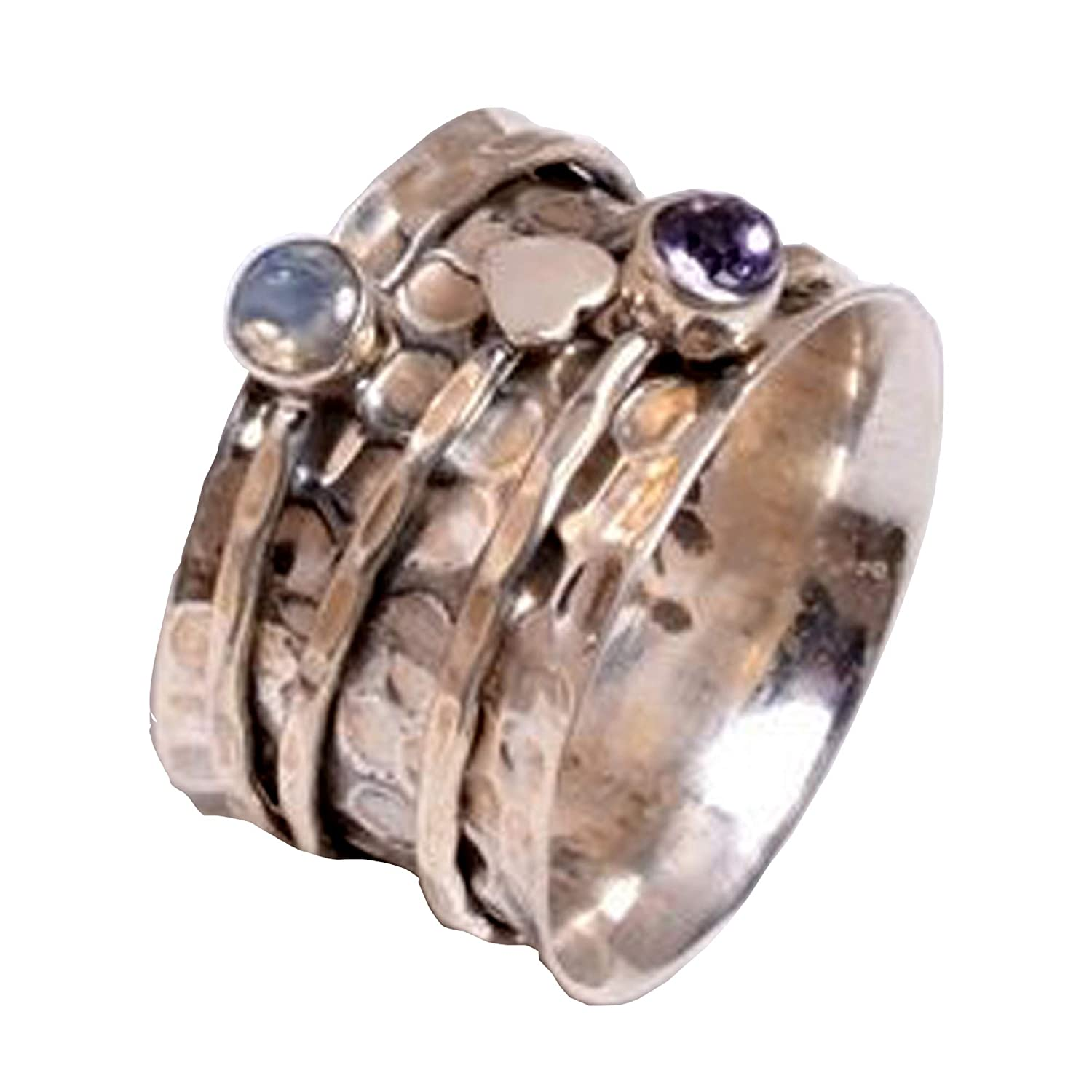 Amethyst Stone Bestselling Ring,Band Spinner Ring Amethyst AAA+Quality Boho Silver Ring,925-Sterling Silver Spinner Ring,Cut Stone Ring