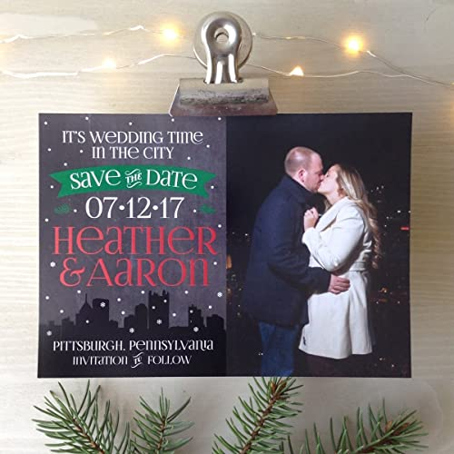 Save The Date Christmas Cards.Amazon Com Wedding Time In The City Save The Dates Handmade