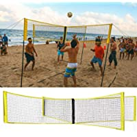 4-Sided Volleyball Net, Indoor Outdoor Sand Grass Sports Supplies Professional Durable Four-Person Volleyball Training Portable Tennis Square Net for Gardens, Beaches, Pools (NO Shelf)