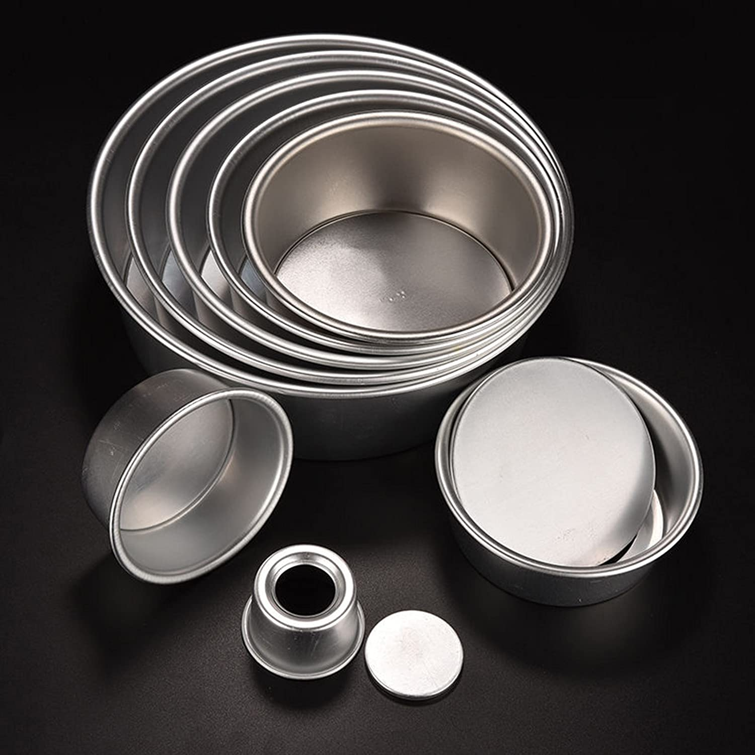 Three Size 2/4/6/8'' Aluminum Alloy Non-Stick Round Cake Baking Mould Pan Cheesecake Pan【Cake Mould】 dfnbrhg