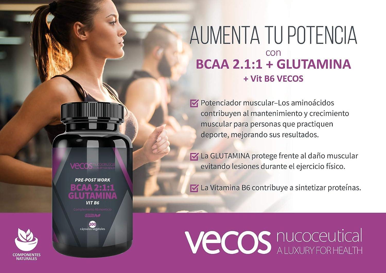 Suplemento deportivo Pre y Post Workout Vecos – BCAA, glutamina y vitamina B6 para el crecimiento y recuperación muscular – 200 cápsulas vegetales – ...