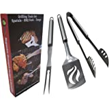 Grilling BBQ Tools Set - Heavy Duty 20% Thicker Stainless Steel - Professional Grade Barbecue Accessories - 3 Piece Utensils