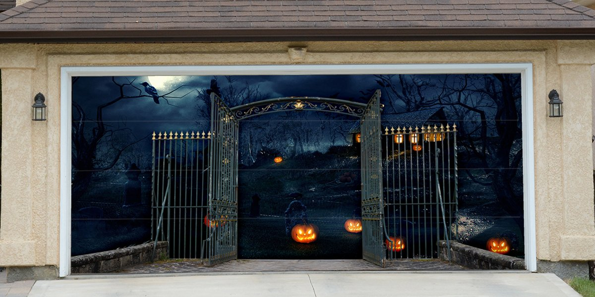 Re-Usable 3D Effect Garage Door Cover Billboard Sticker Decor Skin -Halloween Gate - Sizes to fit your Garage.
