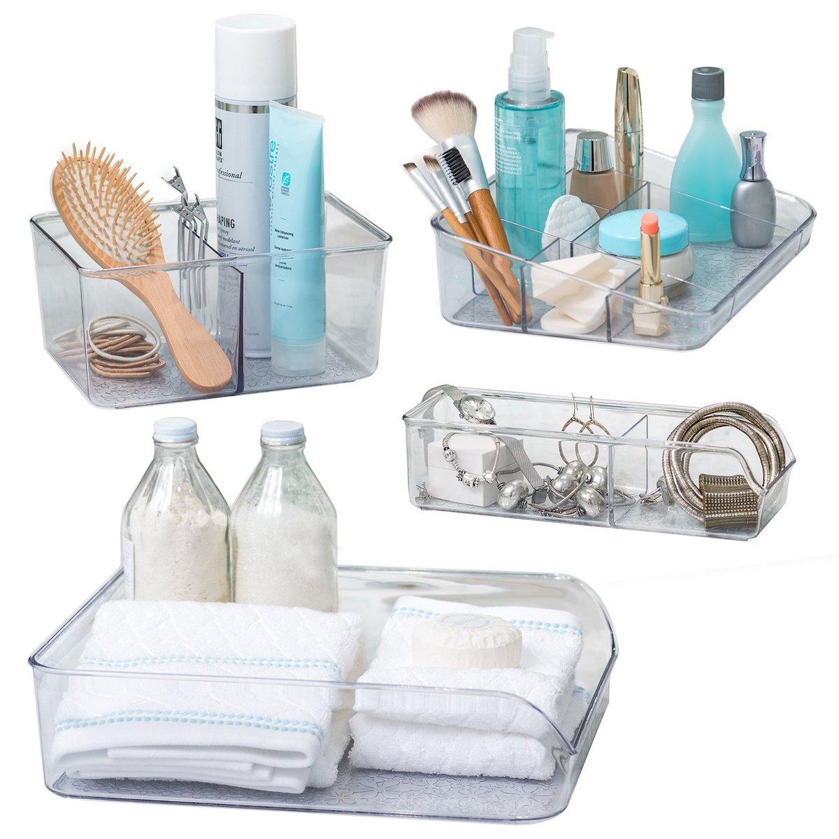 Better Living Set of 4 Vanity Trays for Bathroom Storage Cosmetic Organizers Towel Basket Makeup