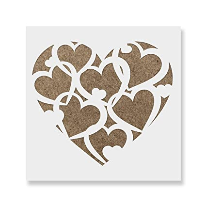 Amazon.com: Pattern Heart Stencil Template for Walls and Crafts ...