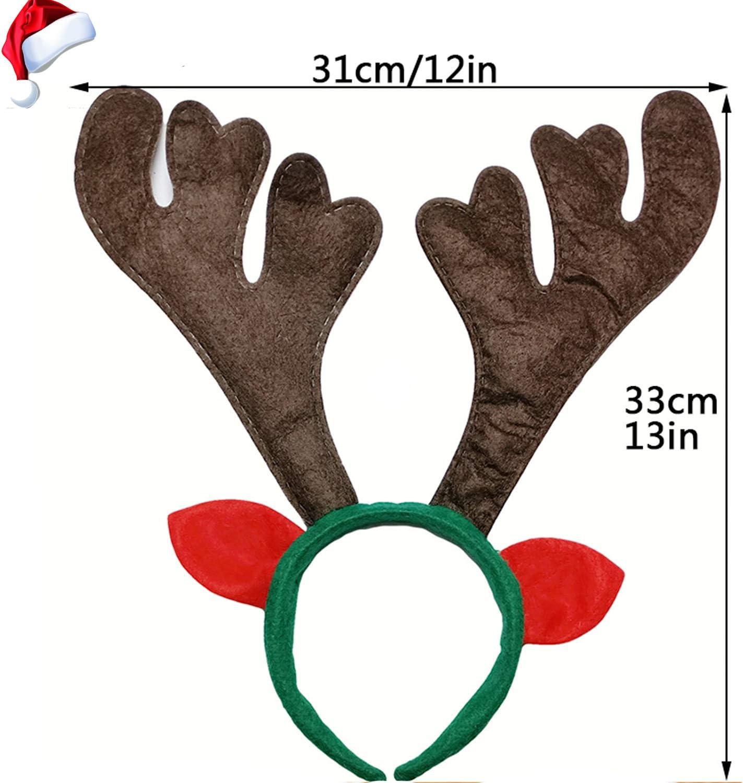 8 PCS Christmas Reindeer Antlers Headband Xmas Deer Horn Headband Hair Hoop Funny Cute Antler Headband with Ears for Christmas Holiday Festival Party/