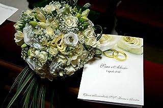 Libretti cerimonia matrimonio nozze personalizzati fiori e anelli 10 pz