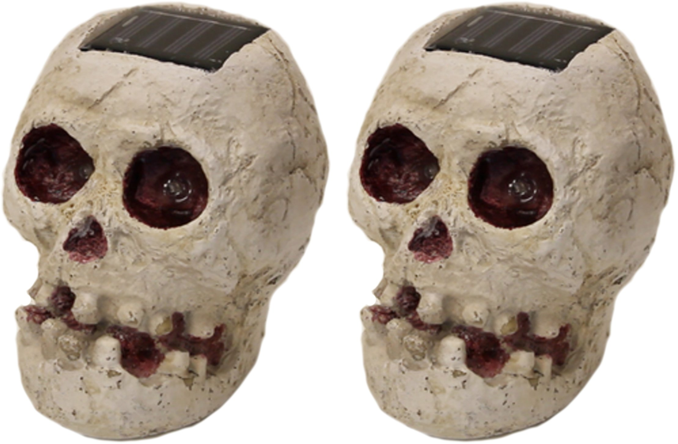 (2 Pack) SKULLar - Solar Powered Outdoor Halloween Skull Fright Lights