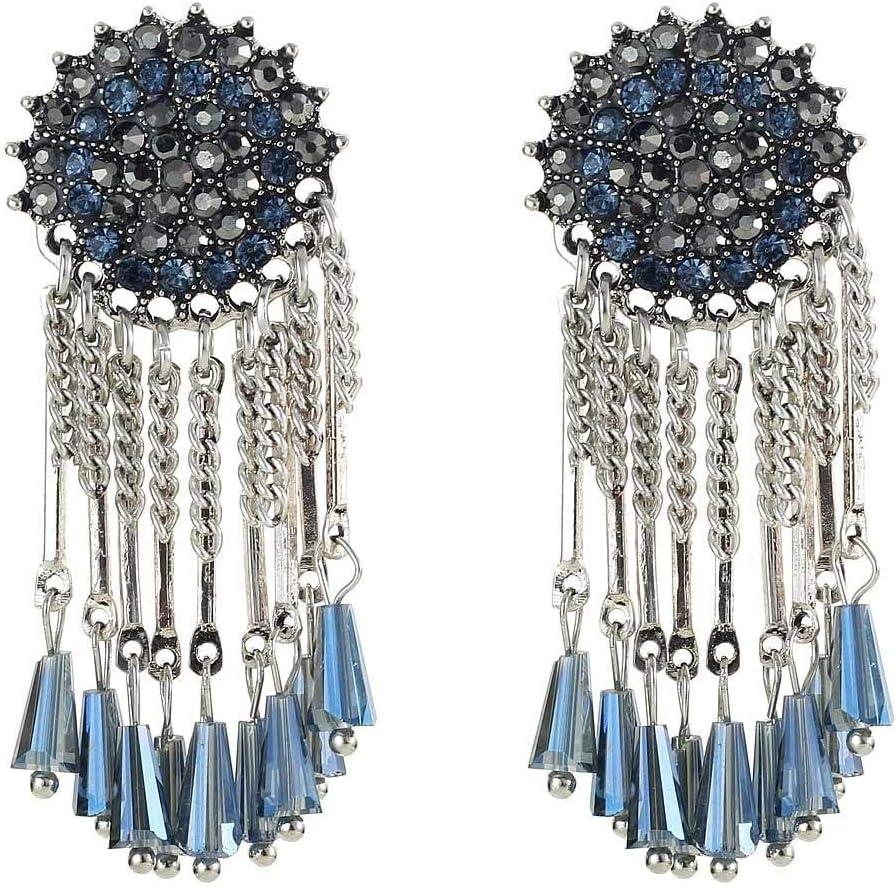 Erin Colgante De Cristal Azul Pendientes De Gota De Diamantes De Imitación Negros Pendientes De Piedras Preciosas De Plata Antigua para Mujer E1143