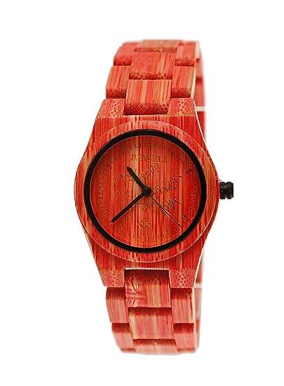 Pure Time® Designer Mujer Reloj De Pulsera De Madera En Rojo Mujer Reloj limitierte Colour