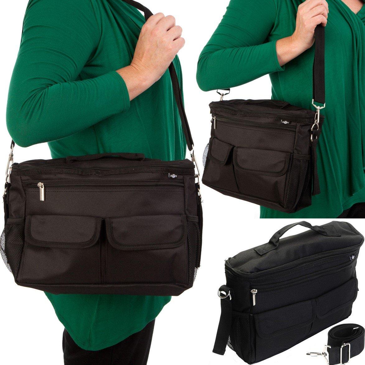 BTR Buggy Organiser Pram Bag /& Stroller Organiser Plus 2 x Pram Hooks//Clips Black