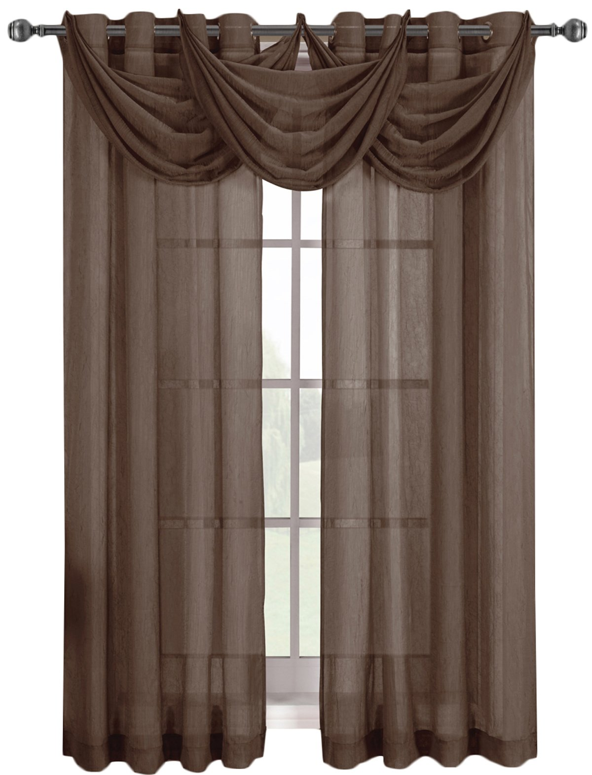 Royal Hotel Abri Chocolate-Brown Grommet Crushed Sheer Curtain Panel, 50x84 inches