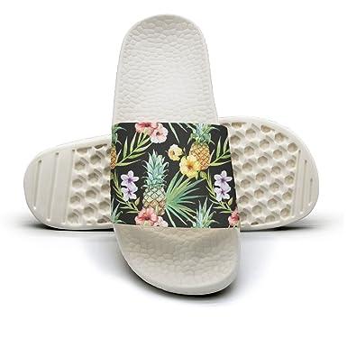 3588815861 Amazon.com  Men s Tropical Hawaii Watercolor Pineapple Hibiscus Plumeria  Non-Slip Soft Foams Slipper Home Slide Sandals  Clothing