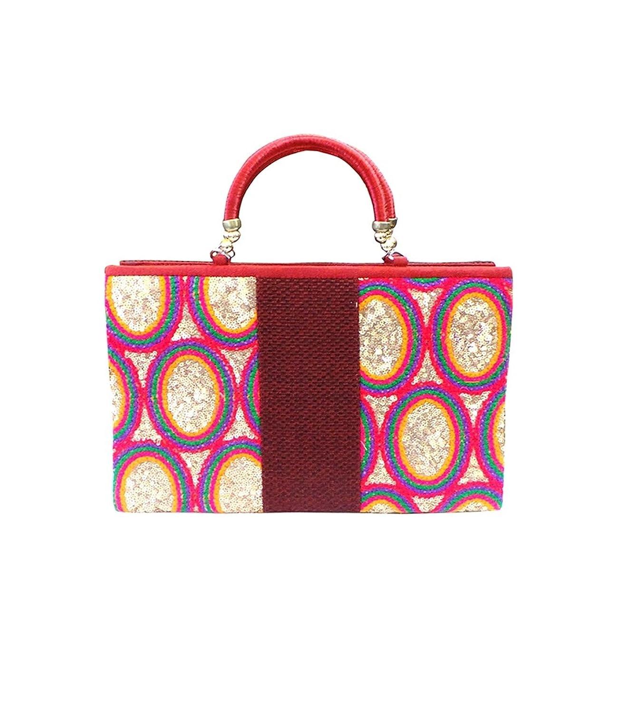 Bhamini Maroon Rainbow Sequins Handbag....