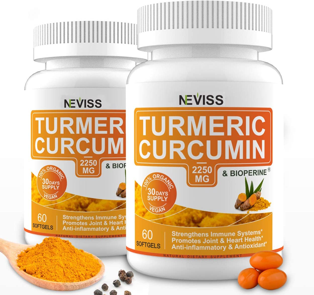 (2 Pack) Turmeric Curcumin Softgel Capsules for Joint Inflammation, Turmeric Capsules 2250MG with Bioperine (Black Pepper Extract) for Better Absorption - 120 Cts: Health & Personal Care