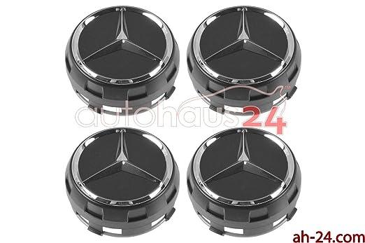 Amazon.com: MERCEDES 0004000900 RAISED BLACK CENTER CAP W/CHROME STAR OEM 4 SET GENUINE: Automotive