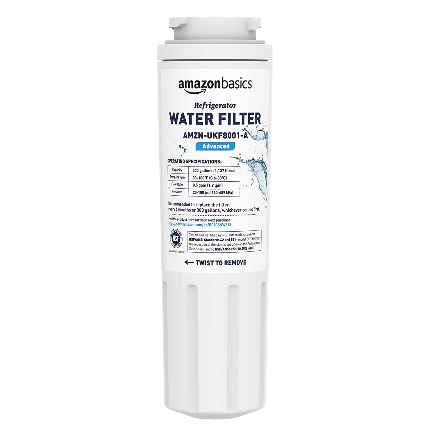AmazonBasics Replacement Maytag UKF8001 Refrigerator Water Filter - Advanced Filtration