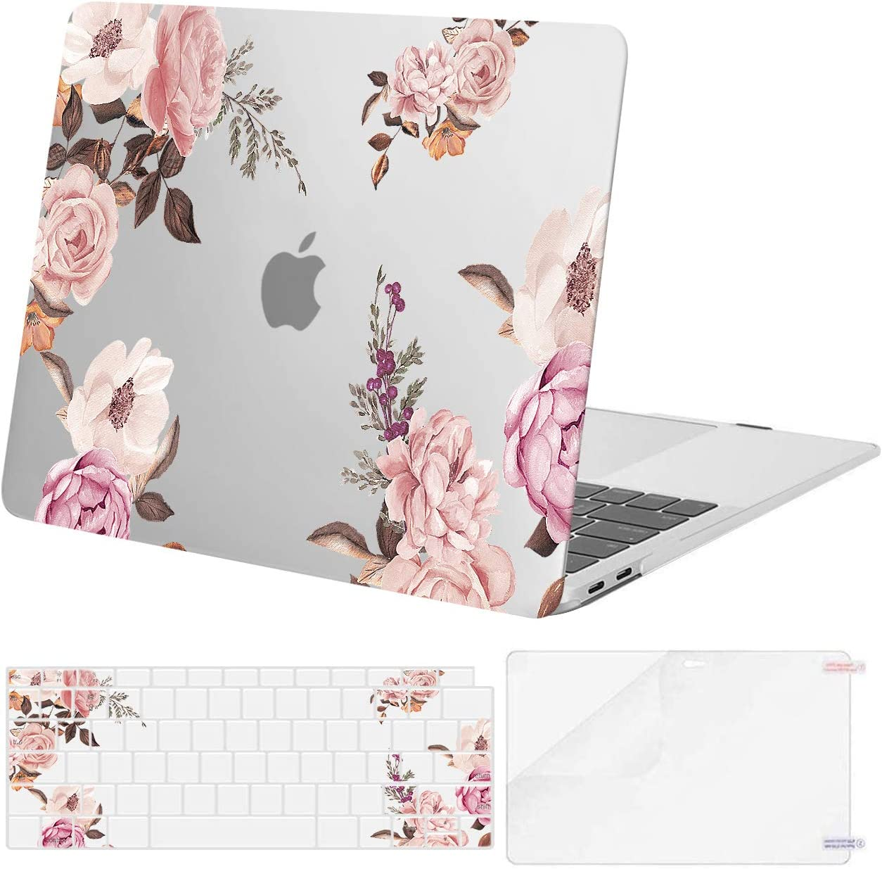MOSISO Compatible with MacBook Air 13 inch Case 2020 2019 2018 Release A2337 M1 A2179 A1932 Retina Display with Touch ID, Plastic Peony Hard Shell Case & Keyboard Cover & Screen Protector, Transparent