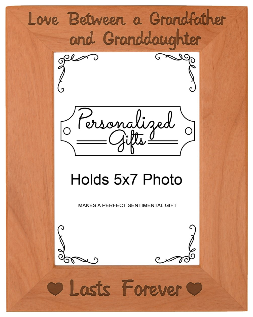 First Time Grandpa Gifts Love Between A Grandfather And Granddaughter Lasts Forever Birthday Natural Wood Engraved 5x7 Portrait Picture Frame