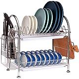 Focus Line Dish Racks, 304 Strainless Steel 2 Tier Dish Drying Rack with Utensil Holder, Cutting Board Holder, Drain Board