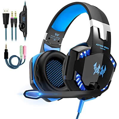 Auriculares Gaming Estéreo con Microfono para PS4 PC Xbox One, Cascos Gaming Professional con Bass Surround para Nintendo Switch Gamer, Diadema Acolchada y Ajustable(Tiene un adaptador cable)