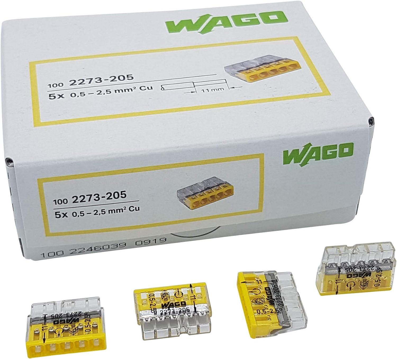 100 unidades Wago 2273-202 COMPACT borne para caja de conexiones /Ø 0,5-2,5 mm/² transparente//blanco de 2 polos