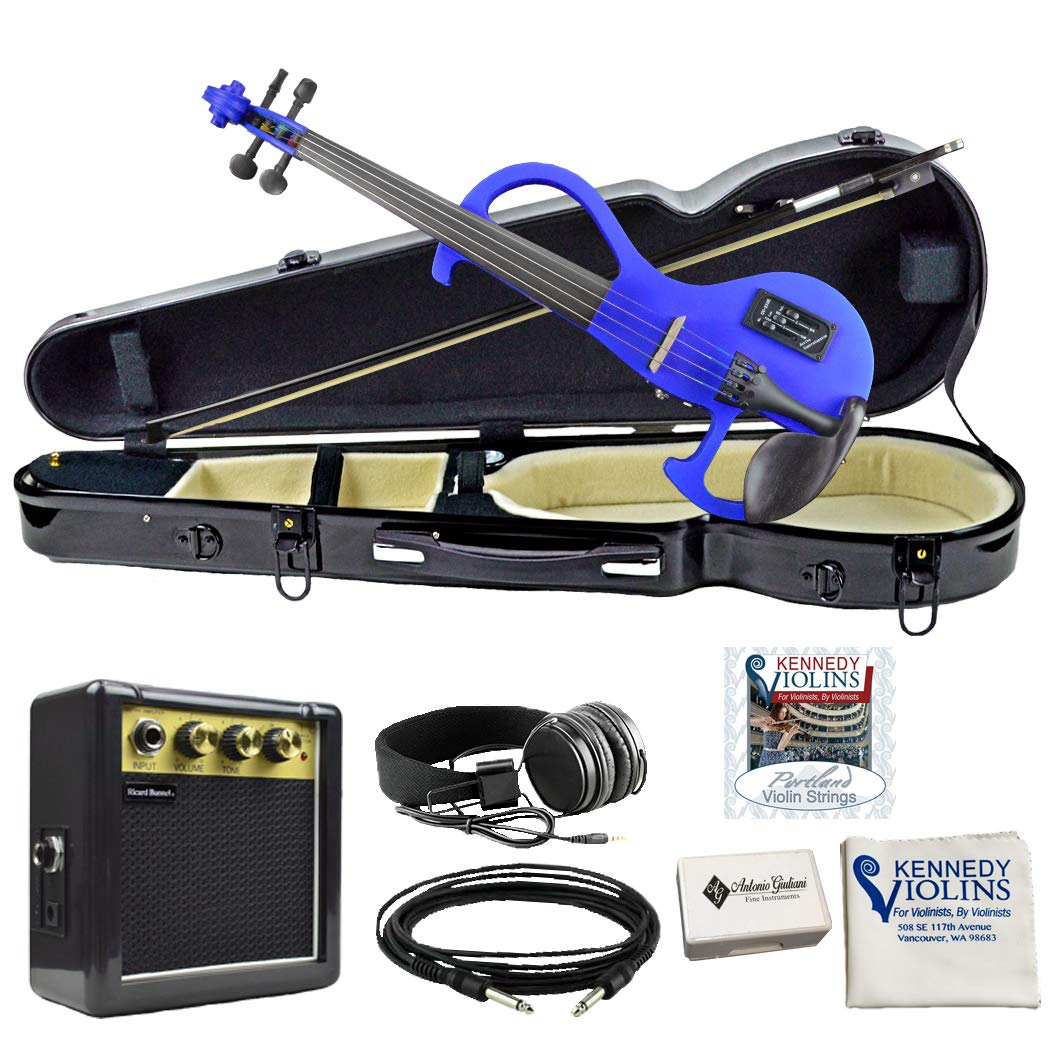 Bunnel EDGE Electric Violin in Hard Shell Case (Bombshell Blue) by Kennedy Violins