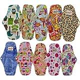 OHBABYKA Bamboo Reusable Sanitary Napkins Pads/Cloth Menstrual Pads for Women,a Mini Bag, Size M (Multi-colored,10pcs)