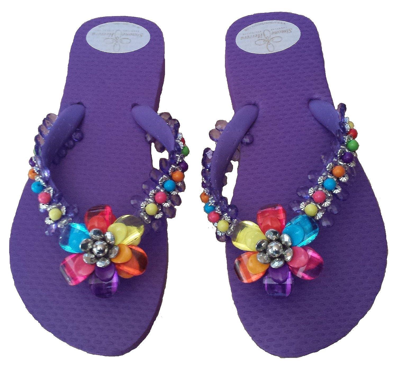 Designer Luxus Flip Flops-Chanclas Exclusivas by Sandale Simone Herrera-Floral Line-Laura-Lila-Riemchen Sandale by Zehentrenner - 43fe8a