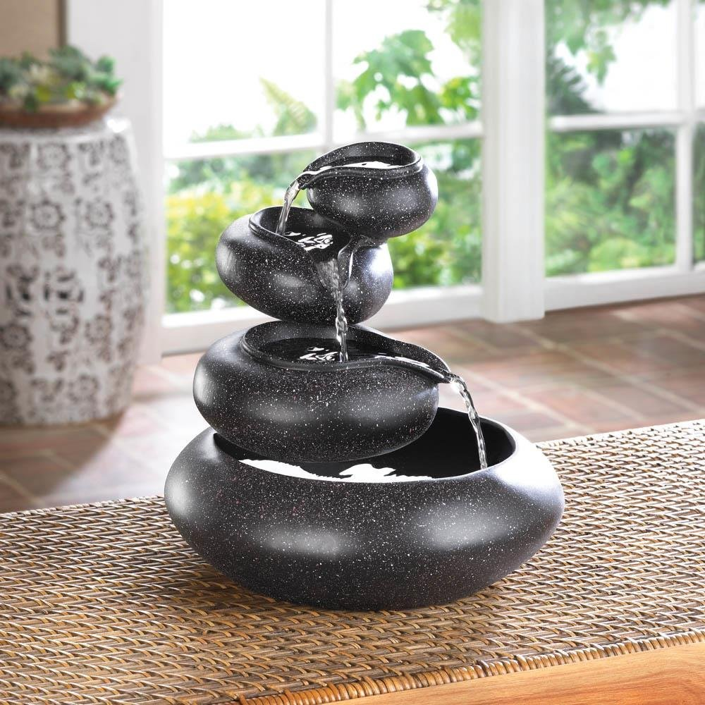 Pebble Water Fountain, Tabletop Bowl Fountain, Granite Finish