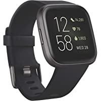 $199 » Fitbit Versa 2 Health & Fitness Smartwatch with Heart Rate, Music, Alexa Built-in, Sleep & Swim Tracking, Black/Carbon, One Size (S & L Bands…