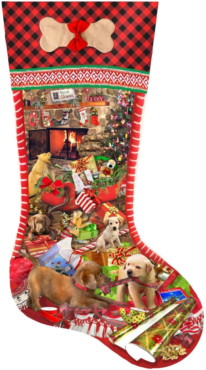 Puppy Stocking 800 pc Shaped Jigsaw Puzzle by SunsOut