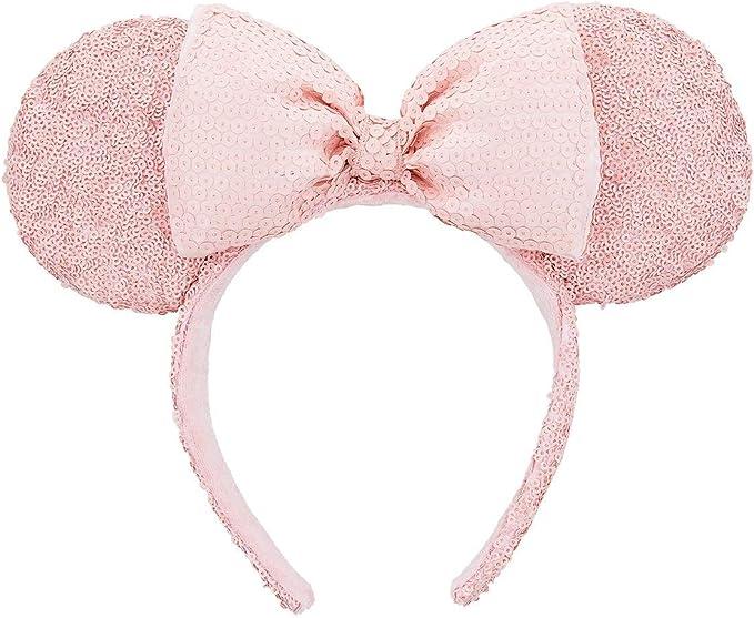 Disneyland Sequins New Shanghai Disney Resort Minnie Ears Purple Bow Headband