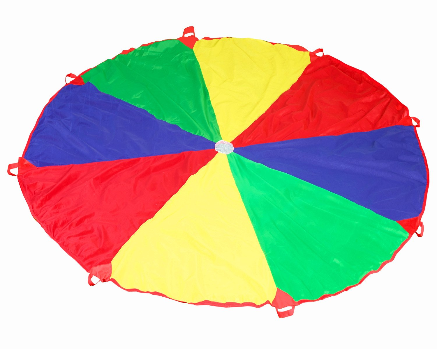 Kids Play Parachute 12ft Kids Sport Parachute with 24 Pit Balls and 8 Easy Hold Handles for Team Game