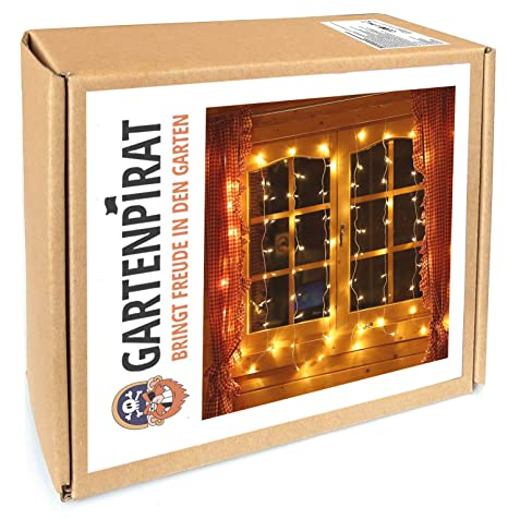 Lichterkette für Fenster Lichtervorhang 1,3x1,3 mit 80 LED Deko innen Weihnachten von Gartenpirat®