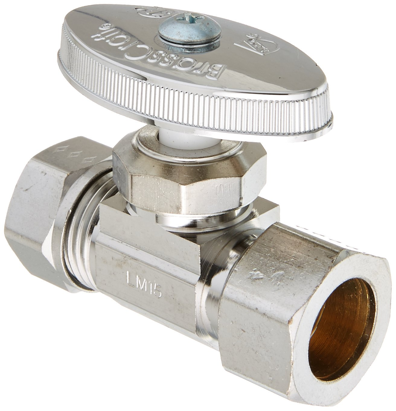 BrassCraft O3345X C1 1/2'' Nominal Compression Inlet x 7/16'' and 1/2'' Slip Joint Outlet Multi-Turn Straight Valve