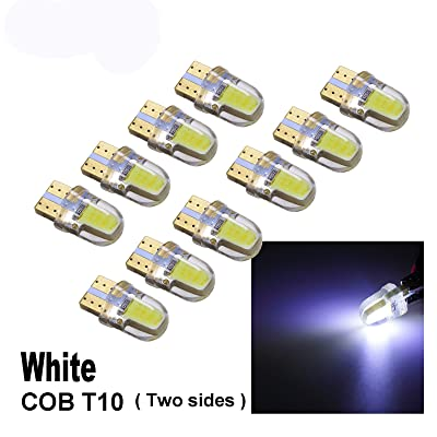 PA 10 x COB LED (Two sides each 4 chip) T10 921 T15 194 CANBUS Silica Silicone Bright Side Marker Light/Turn Signal Light/Driving Light/License Light Bulbs (White): Automotive