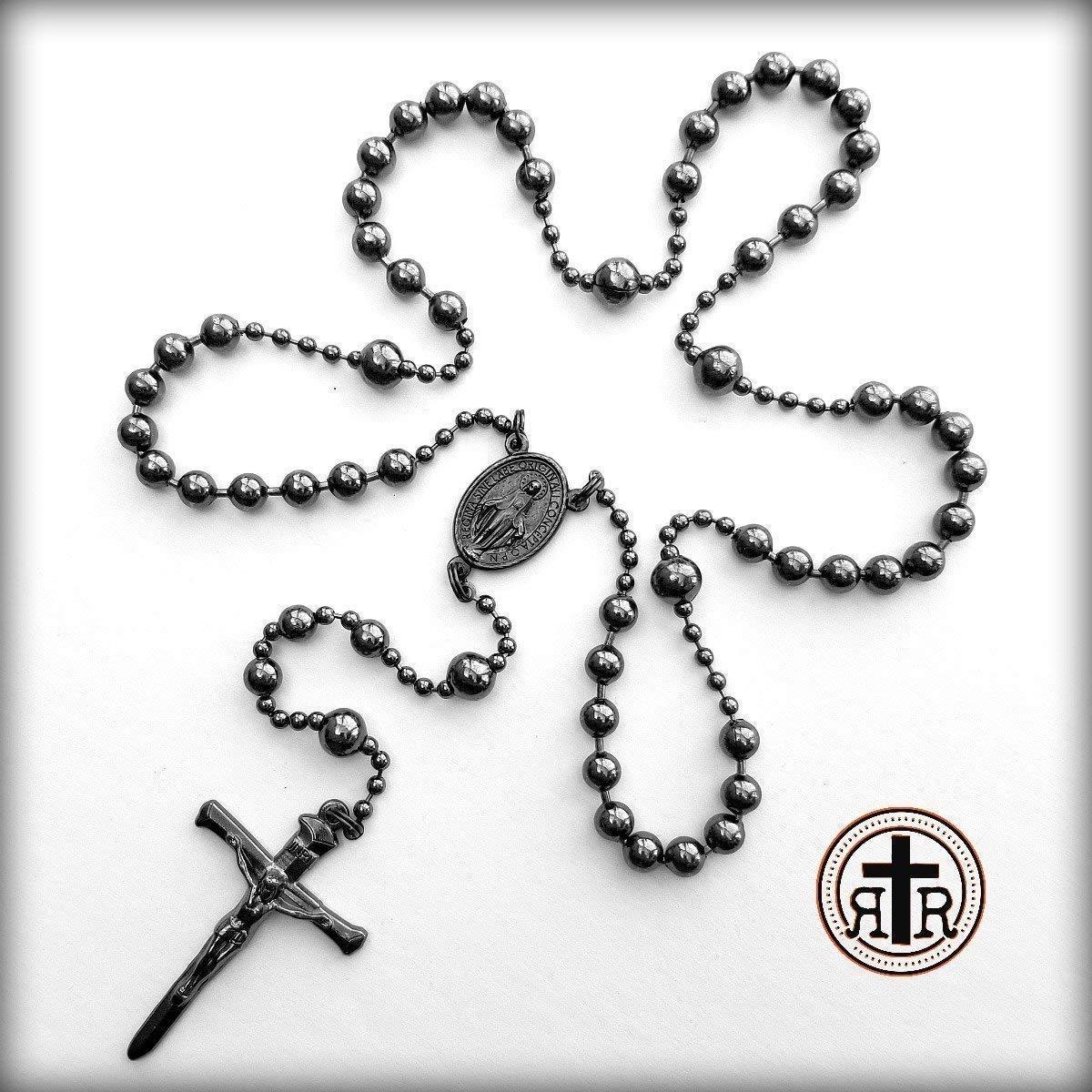 WWI Battle Beads Catholic Rosary in Gun Metal