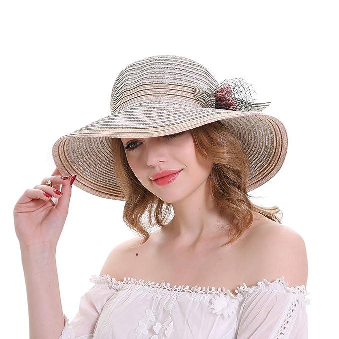 46ed1c22230615 MEEFUR Women's Adjustable Paper Straw Flower Beach Hat Church Cap Veil  Bowler Foldable Wide Brim Stripes