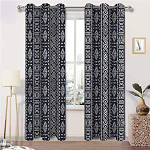 Farmhouse Curtains for Living Room African Window Treatment Grommet Curtains Vertical Art Borders Set of 2 Panels, 72 Width x 96 Length