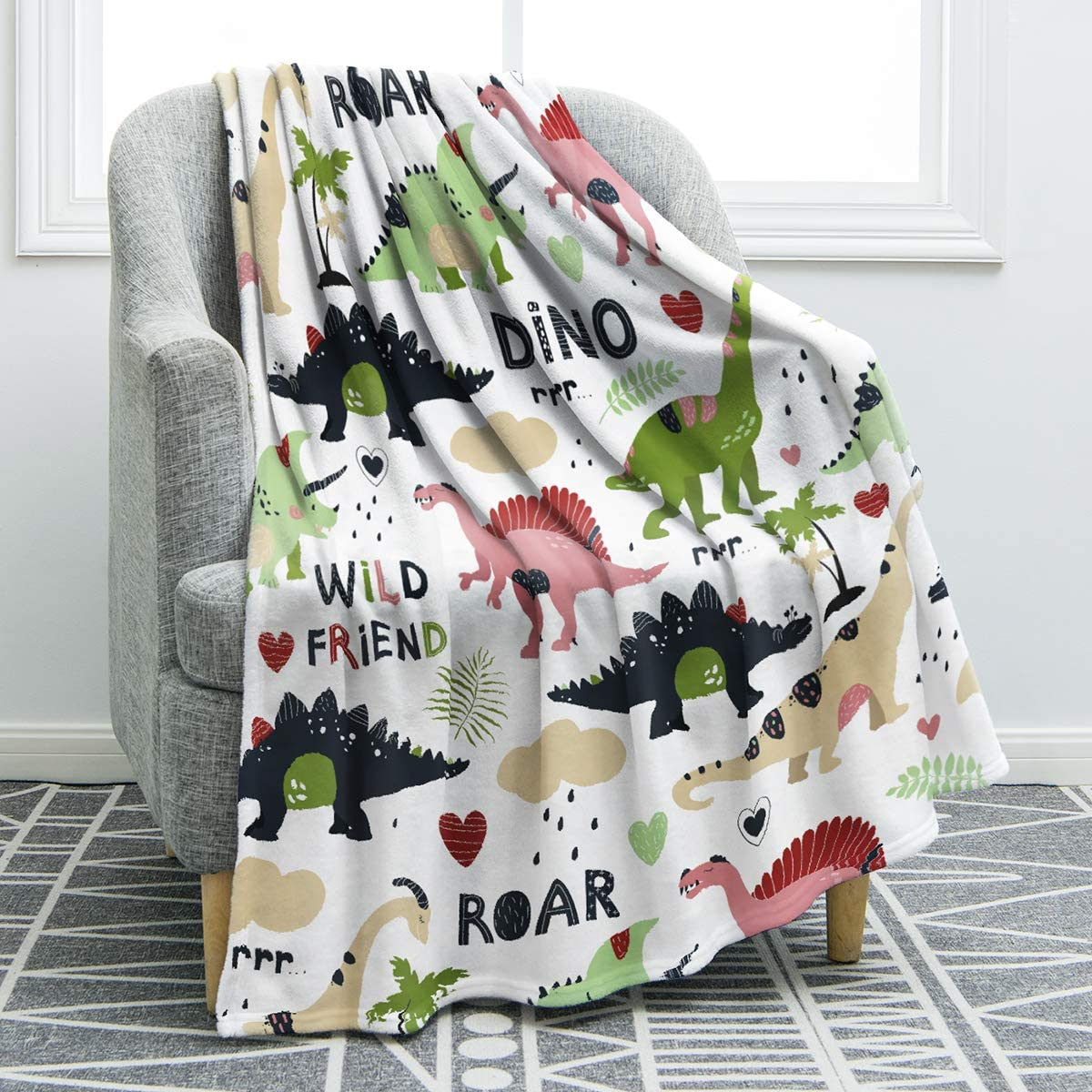 "Jekeno Cartoon Dinosaurs Blanket Throw Soft Print Cozy Blanket for Sofa Chair Bed Office Travelling Camping 50""x60"""